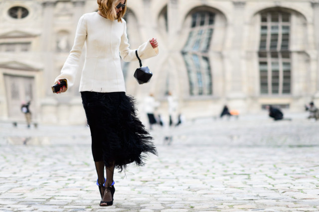 fringe skirt-feathered skirt-tights-simple black sandals-black and white-night out party work-office to out-winter to spring transitional dressing-pfw street style-elle