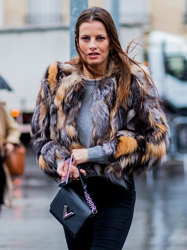 fur coat-grey and black-pfw street style-the styleog