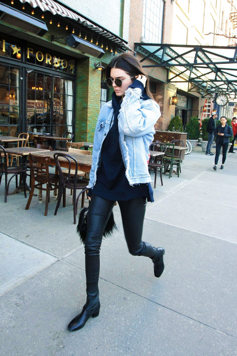 what to wear this weekend, kendall jenner, hoodie and jean jacket