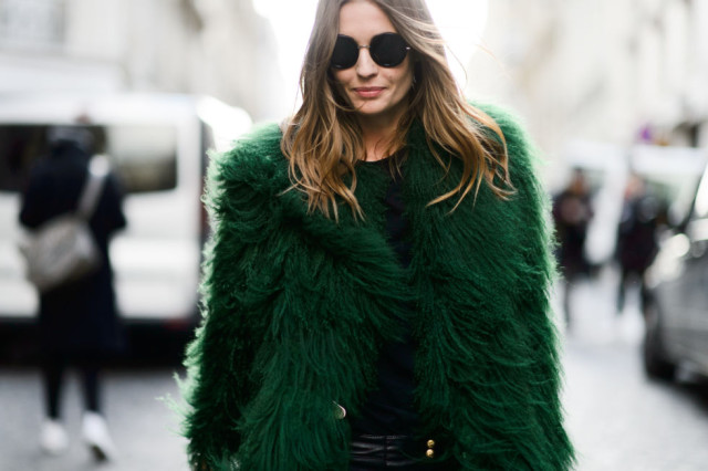 green fur coat-colored fur-emerald green-pfw street style-elle