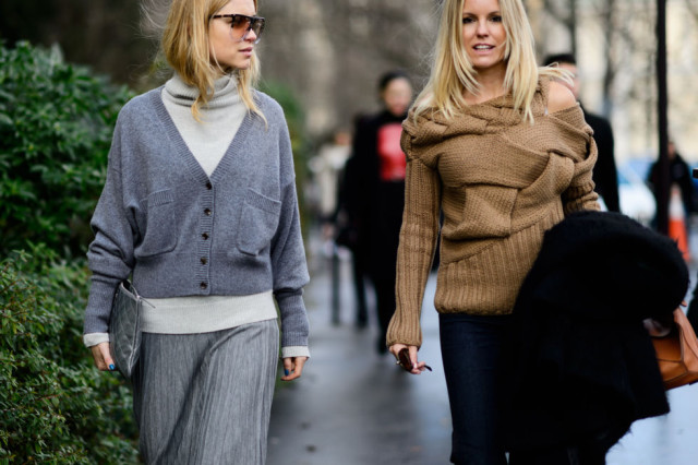 greige groutfit-pleated skirt-cardigan turtleneck-pfw street style-elle