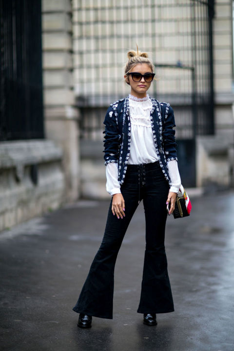 high waisted victorian blouse-embroidered jacket-embellished fjacket-cropped flares-flares-lace up pants-booties-pfw street style-cosmo