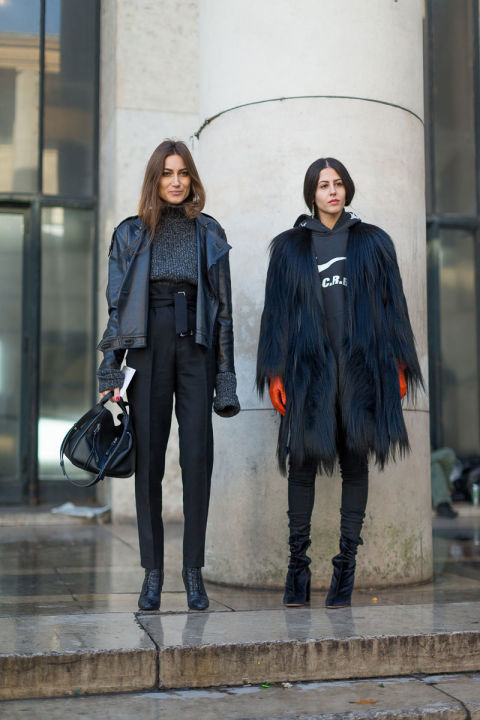 hoodie-fur coat-all black-high waisted paperbag pants-pfw street style-hbz