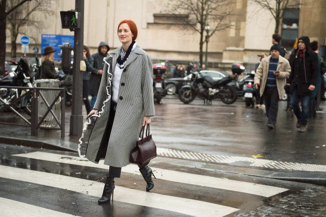 paris fashion week-taylor-tomasi-hill. houndstooth jacket, booties