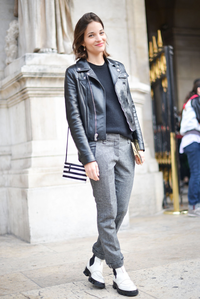 maria duenas jacobs-tweed pants-black leather moto jacket-white booties
