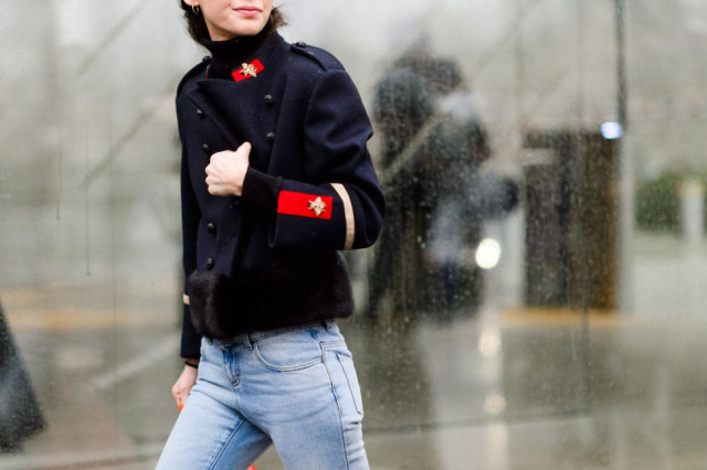 military jacket-pfw street style-military trend