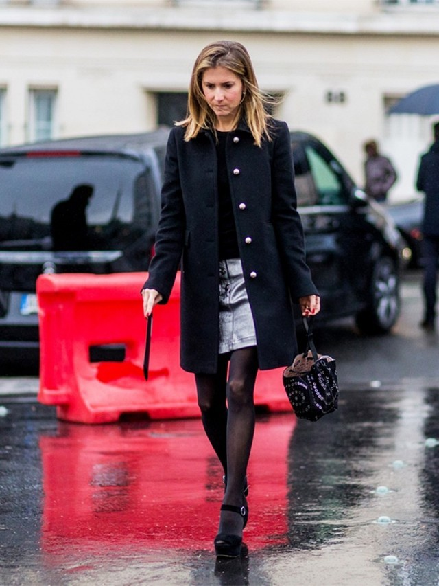 mini skirt-silver skirt-rain outfit-black coat-platforms-sandals in winter-tights-pfw street style-