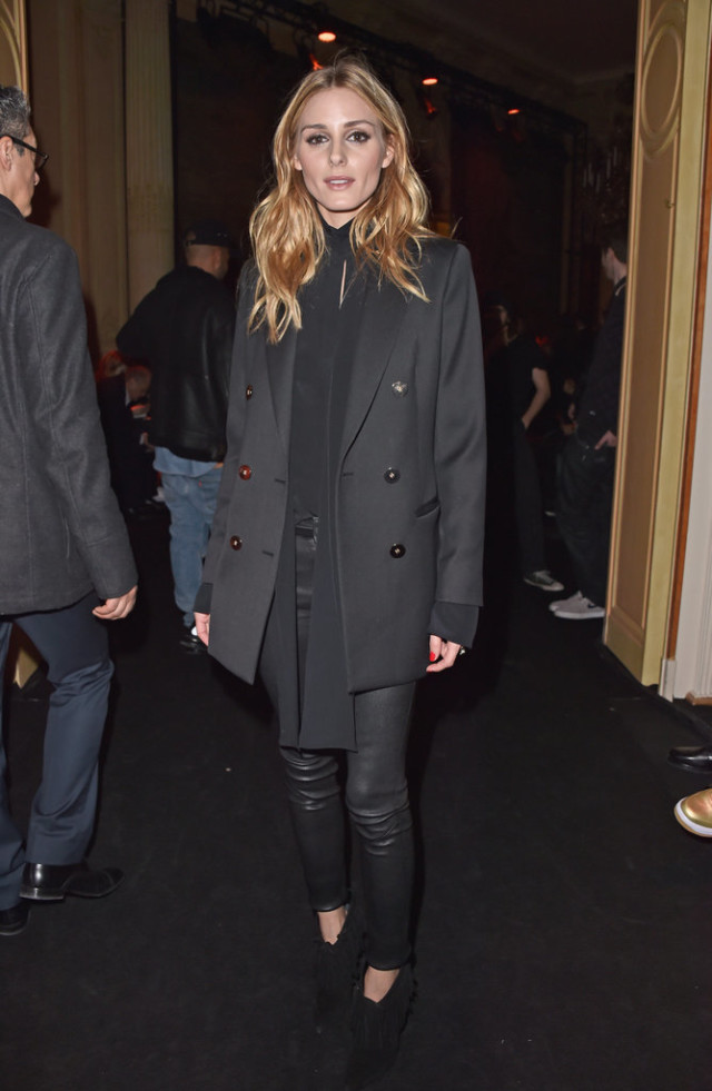 olivia palermo-double bresatsed jacket-all black-tie neck blouse-black leather skinnies-black booties-pfw street style-getty-gonig out night out-work-going out