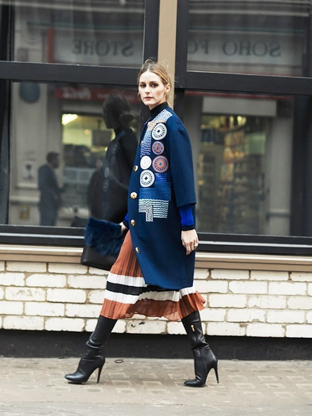 olivia palermo-embroidered coat-three quarter sleeve coat-mockneck top-pleated midi skirt-colorblock skirt-booties-winter work outfit-