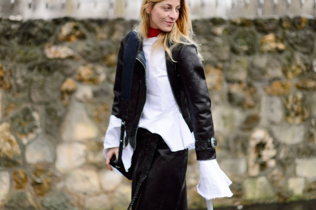 oversized cuffs-black leather jacket-black and white-pfw street style-elle