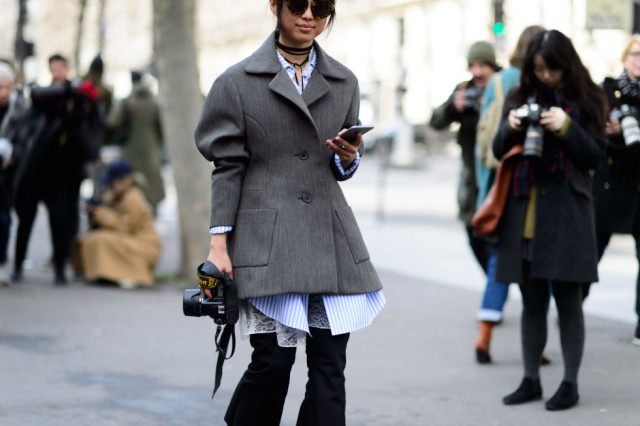 peplum coat-ruffle sleeves-oversized button up -flares-winter to spring transitional dressing-grey coat-pfw street style-elle