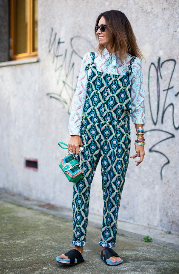 printed overalls-mixed prints-slides-ugly shoes-