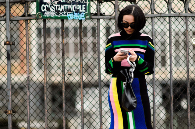 rainbow stripes-colorblock-spring dresses-pfw street style-elle
