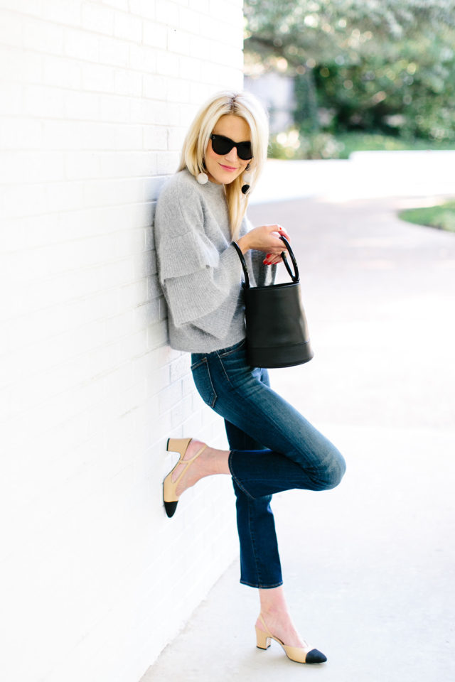 ruffle-sweater-two-tone-chanel-shoes-block-heels-cropped-flares-fall-weekend-outfit-fall-work-outfit-office-to-out-date-night-going-out-luella-and-june