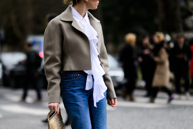ruffles-victorian blouse-cropped jacket-modern shape-high waisted mom jeans-pfw street style-elle