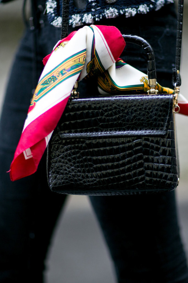 scarf tied on bag-bag-top handle bag-pfw street style-ps