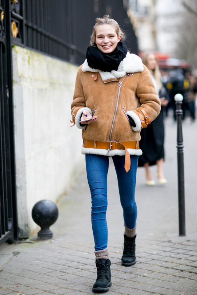 shearling coat-lace up boots-socks-winter weekend outfit-pfw street style-getty