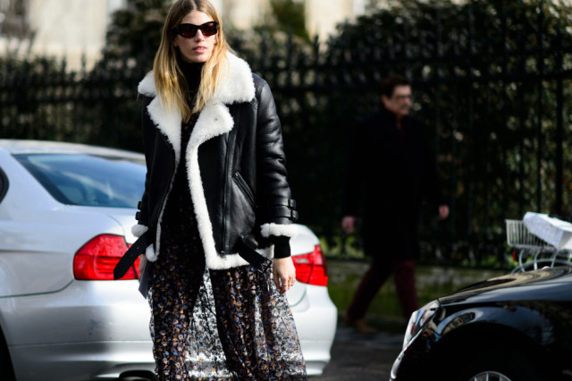 shearling coat-turtleneck-floral dress-winter to spring transitional dressing-pfw street style-elle