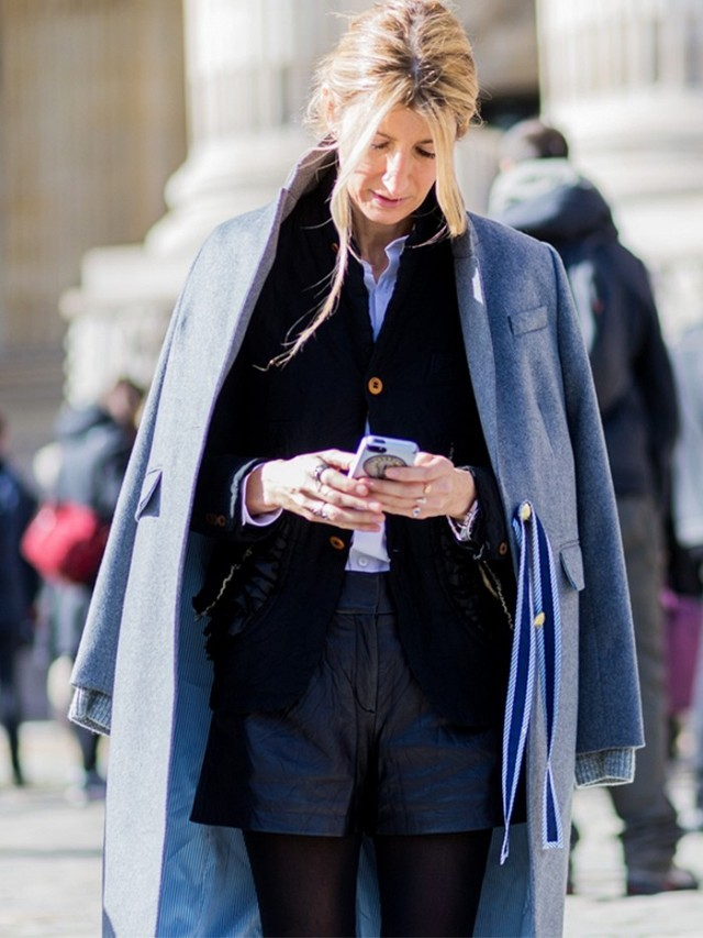 shorts in winter-leather shorts-shorts over tights-double jackets-blazer-preppy-work-weekend-sara rufullo-pfw street style-the styleog