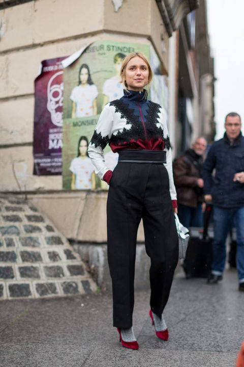 socks with shoes-zip up top-high waisted paper bag pants-pfw street style-hbz