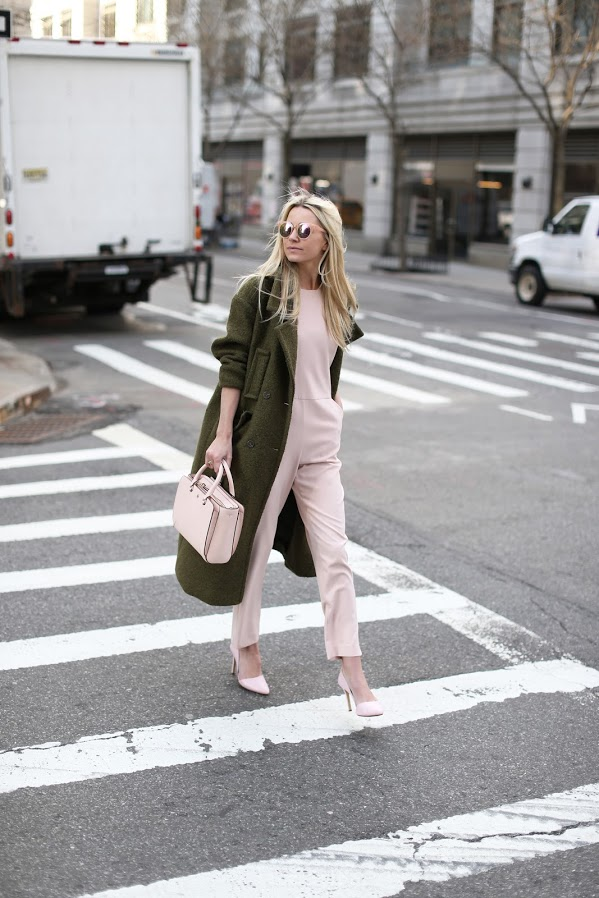 e8b849d37c3 spring to winter dressing-transitional dressing-blush pink  jupmsuit-pumps-evergreen coat