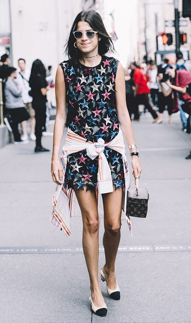 star prints-shirt tied around waist-leandra medine-www