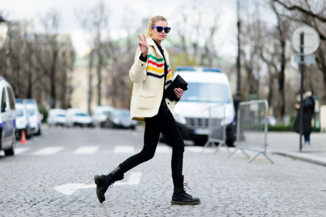 striped colorblock jacket-lace up combat boots-doc martens-leggings-black skinnies-model off duty style-pfw street style-elle