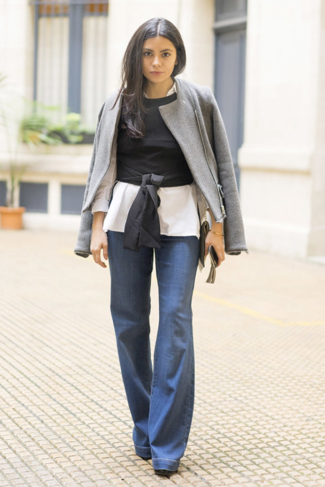 tie front blouse-jacket-flare jeans-night out going out-pfw street style-