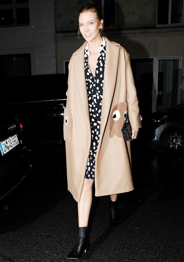 transitional dressing-no tights-ankle boots-polka dot dress-printed dress-camel coat-winter to spring dressing-karlie kloss-work outfit-www