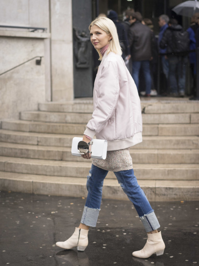 tunice sweater-white booties-cuffed jeans-baseball jacket-blush-turtleneck-pfw street style-ps wheresmydriver