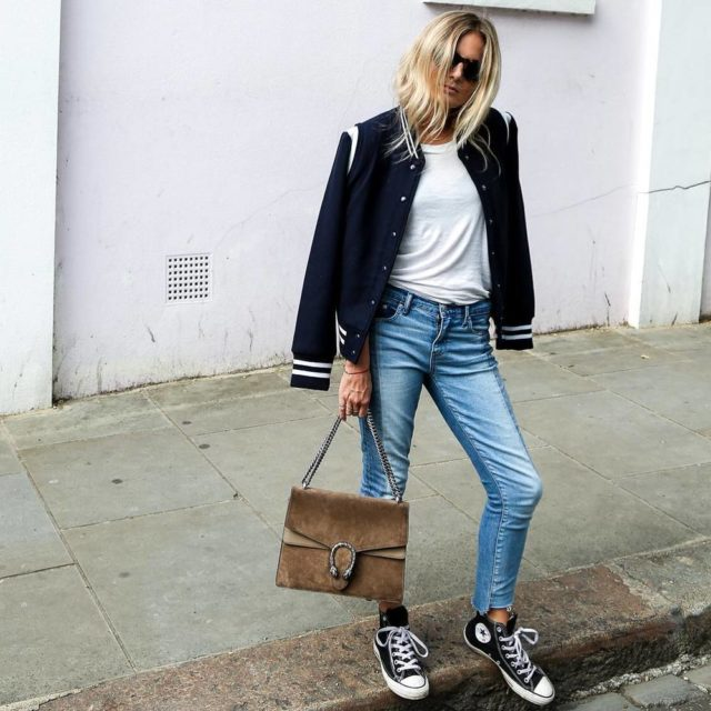 varsity jacket-convers sneakers-weekend outfit-fall weekend-