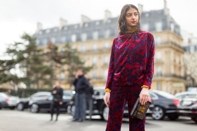 velvet-printed pants-printed top-victorian blouse-yellow-red-berry-pfw street style-hbz