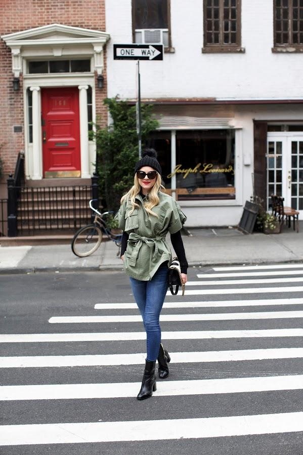 weekend-army jacket-spring outfit-belted-ankle boots-beanie-atlantic-pacific