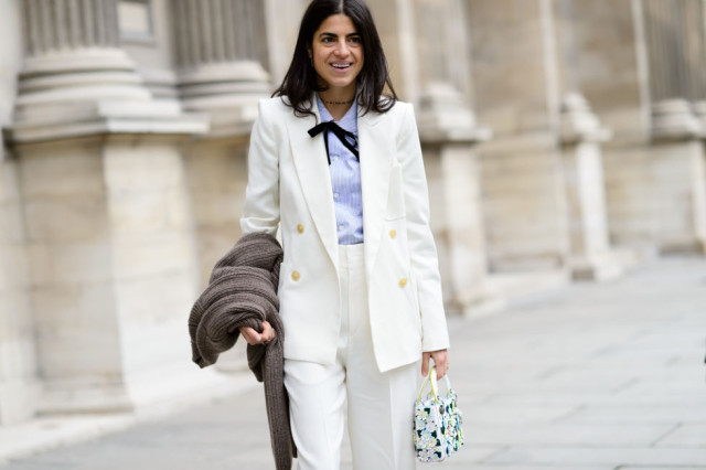 white pantssuit-pants suit-tie neck blouse-bow blouse-bow tie-double breasted blazer-work-winter to spring transitional dressing-man repeller-pfw street style-elle