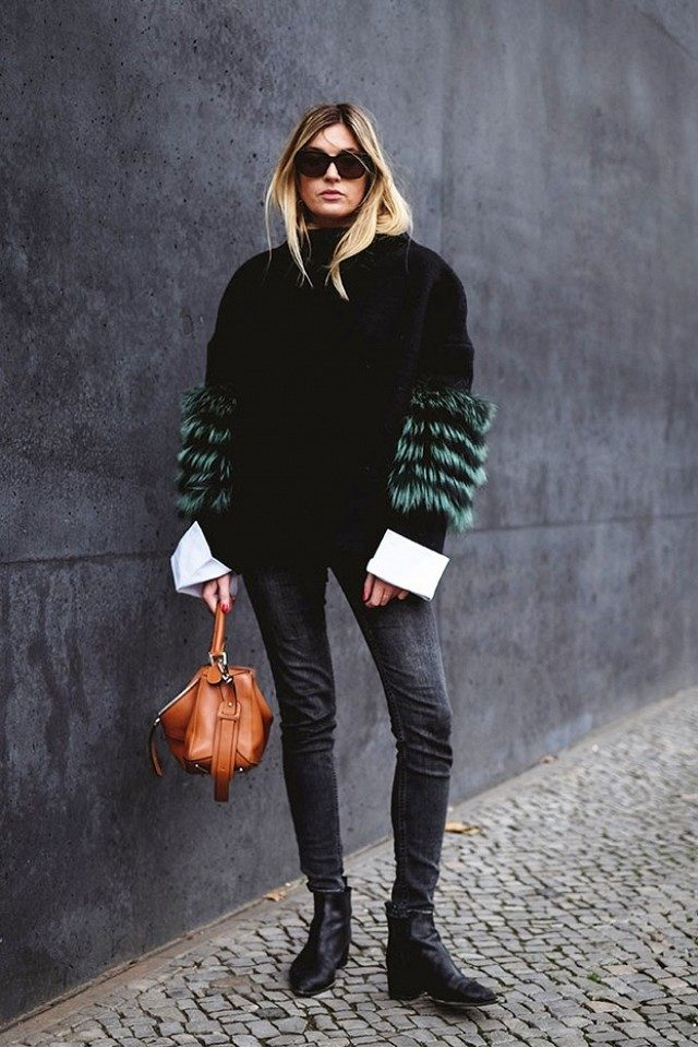 ankle-boots-skinny-jeans-major-cuffs-sleeves-fur-sleeves-fur-sweater-green-fur-statement-going-out-night-out-holiday-