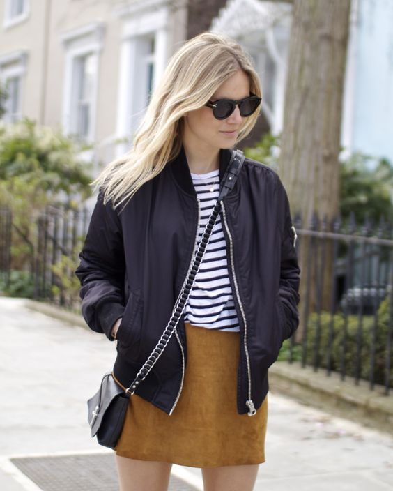 bomber jacket-suede mini skirt-striped tee-stripes-