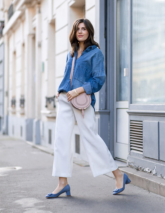 culottes-block heels-ladylike heels-baby blue-denim shirt-front tuck-chambray shirt-brunch-weekend-work-spring-