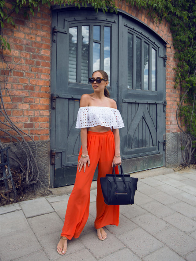 palazzo pants-off the shoulder top-crop top-summer party-orange-pool party-