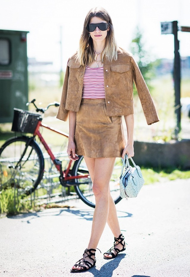 suede in spring-summer sued-stripes-skirt suit-skirt set-lace up sandals-gladiator sandals-mini skirt-work office to out-spring-party-www