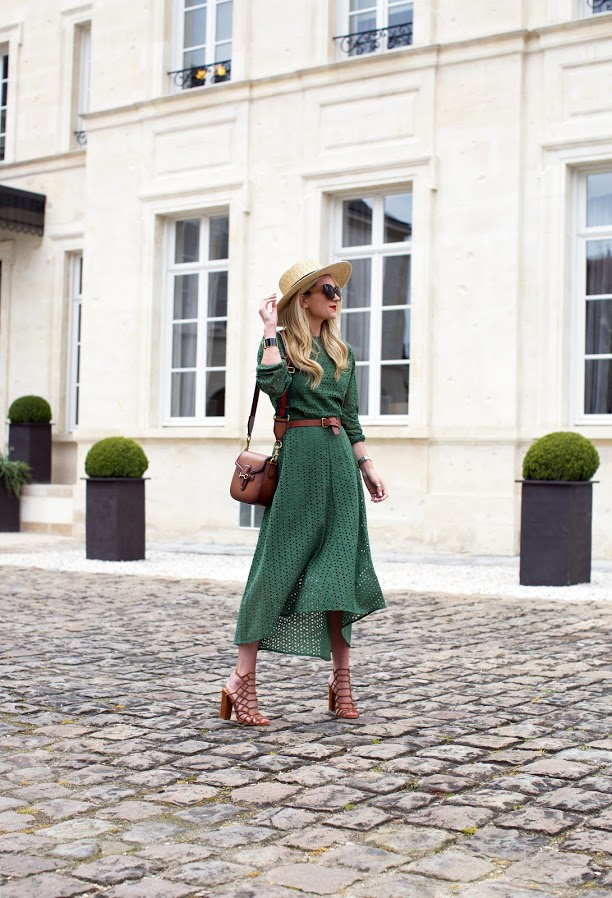 What to Wear This Weekend, Green Sundress, Belted Dress, Straw Hat, Blair Eadie