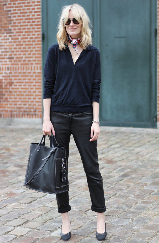 black and navy-choker scarf-rolled pants jeans-spring work outfit-\