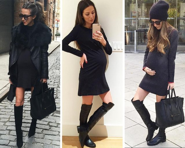 cfc-something navy maternity style-fitted sweater dresses and tall boots