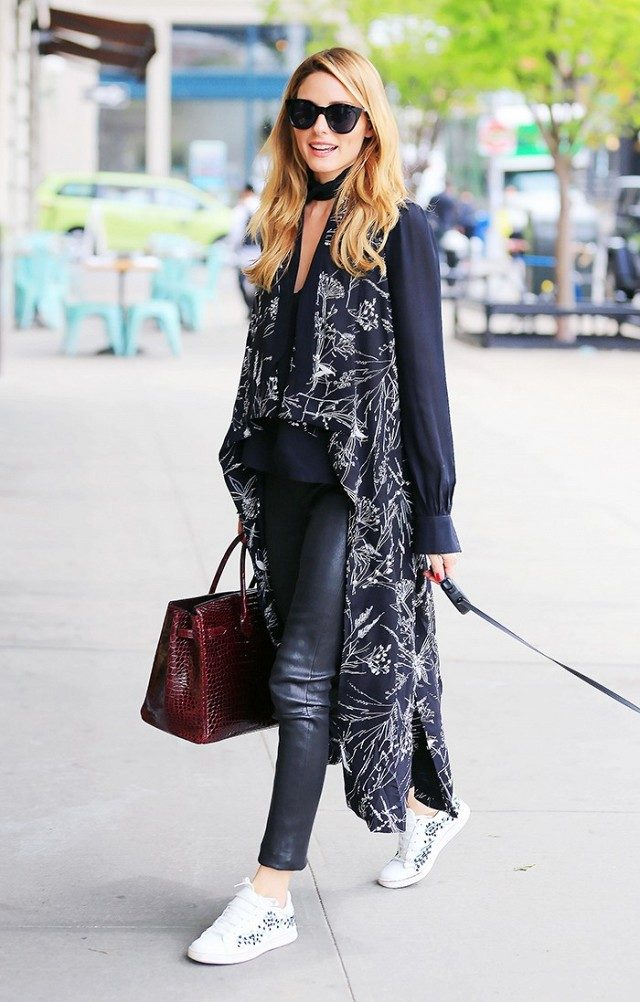 choker blouse top-leather skinnies-sneakers to work-long vest-work outfit-office to out-date night night out-olivia palermo-www