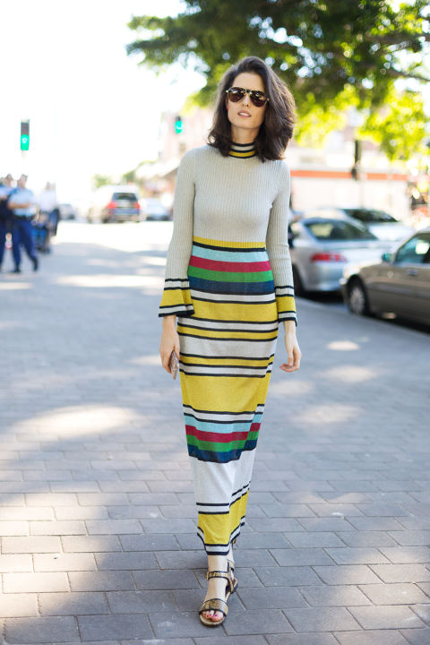 rainbow stripes-spring work outfit-shower party-australian fashion week-hbz