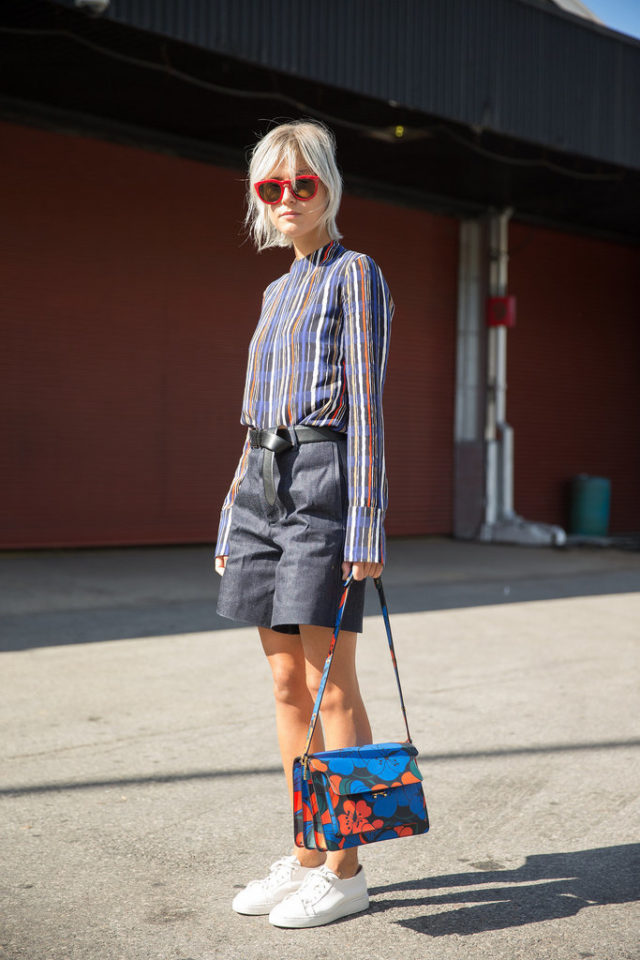 shorts to work-belted-knot your belt-sneakers-weekend brunch-stripes-striped-shirt-orange-orange and blue-rainbow stripes-pops