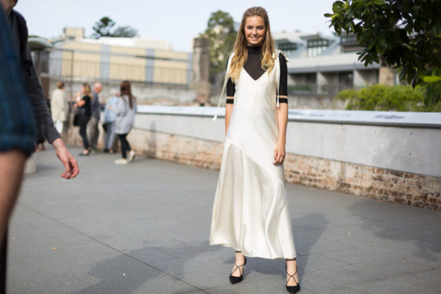 slip dress-tee-lace up shoes-shirt under slip dress-slipdress-australian fashion week-hbz
