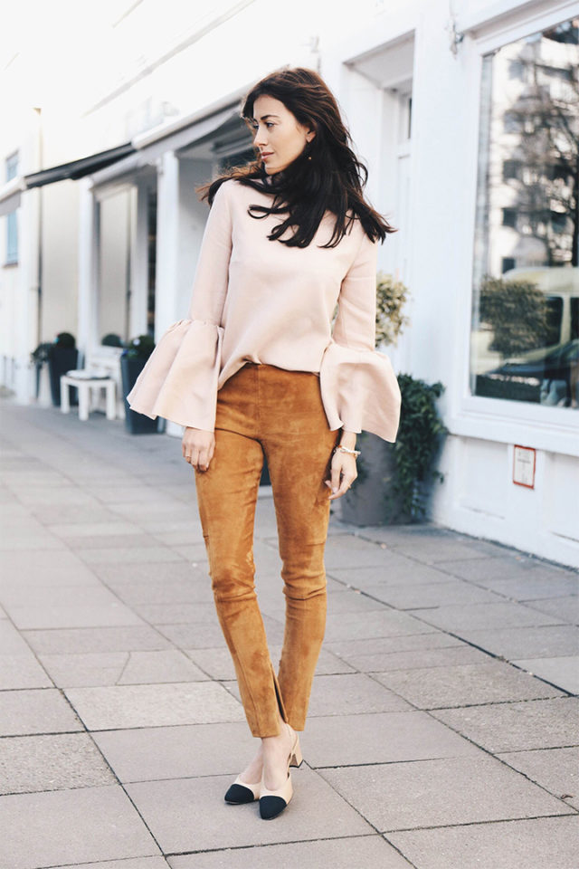 spring suede-block heels-two tone chanel shoes-suede pants skinnies-bell sleeves-night out going out-spring outfit-work-hug-you