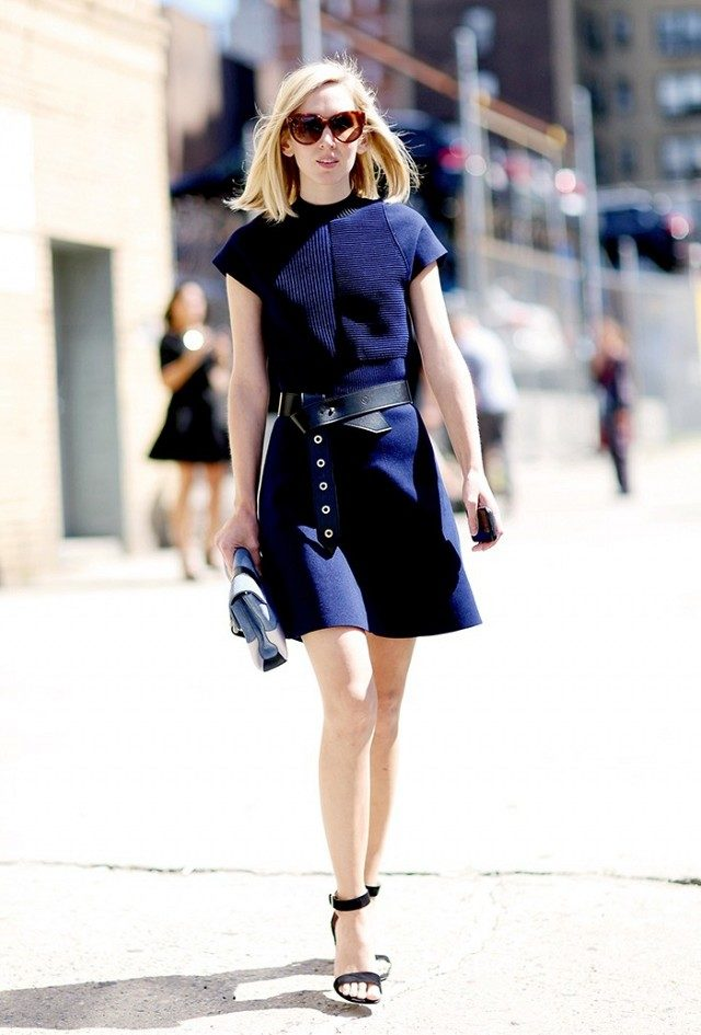 spring work outfit-belted-navy dress-jane keltner devalle-party shower-going out-