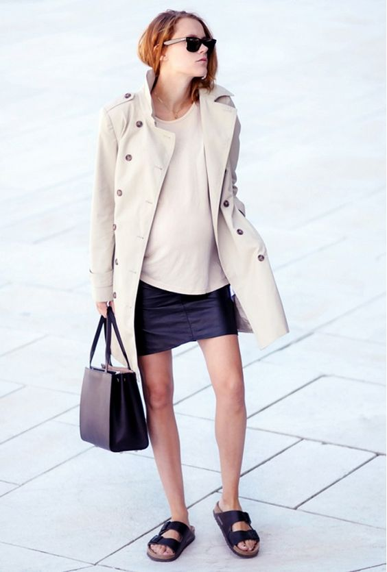 summer maternity style-trench coat-leather mini-work-birks-www