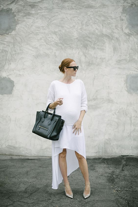 summer maternity style-whtie sweater-white dress-all white-